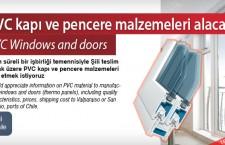 PVC kapı ve pencere malzemeleri alacak