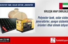 Polyester tank, solar sistem, jeneratör