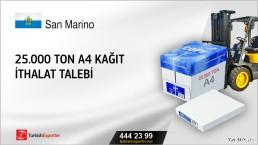 25.000 ton A4 kağıt ithalat talebi