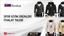 Slovakya, Spor giyim ürünleri ithalat talebi