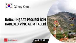Güney Kore, Baraj inşaat projesi için kablolu vinç alım talebi