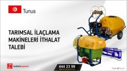 Tunus, Tarımsal ilaçlama makineleri ithalat talebi
