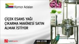 Komor Adaları, Çiçek esans yağı çıkarma makinesi satın almak istiyor