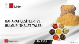 Malta, Baharat çeşitleri ve bulgur ithalat talebi