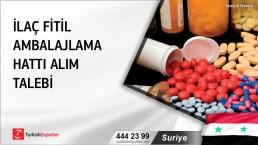 Suriye, İlaç fitil ambalajlama hattı alım talebi