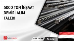 Yemen, 5000 ton inşaat demiri alım talebi